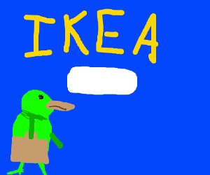Green platypus goes to Ikea