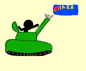 Stick figure in a tank shoots IKEA.