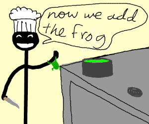 Chef cooking a frog.