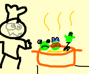 Maniac chef makes frog soup