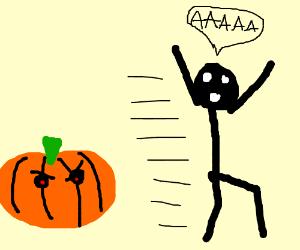 running away from a pumpkin