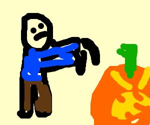 evil pumpkin scared someone