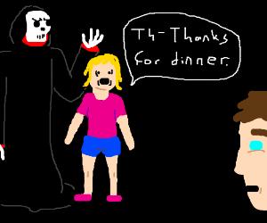 Grim Reapers daughter has awkward relationship