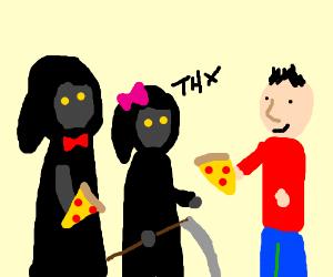 girl and grim reaper thanking guy for dinner