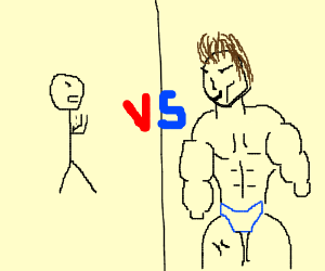 Wimp VS guy with abs