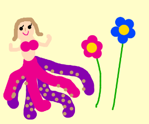 Half octopus girl next to two flowers