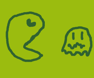 Pac man going after ghost