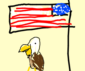 bald eagle perched beneath an american flag