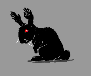 Black rabbit with hands for ears.