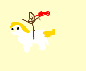 a guy with a flag riding a pony