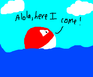 Voltorb floating in the sea