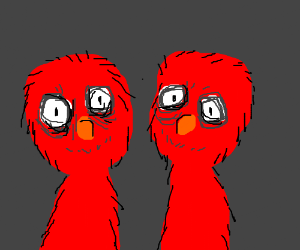 Two of the same Elmos standing by each other