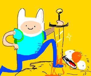 Finn(Adventure Time) defeats Yellmo!