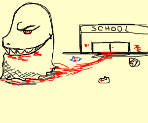 Giant monster eats all the kids at school