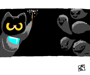 cat wizard vs packman ghosts very cute