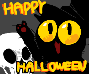 "Cat with big eyes says ""Happy Halloween"""