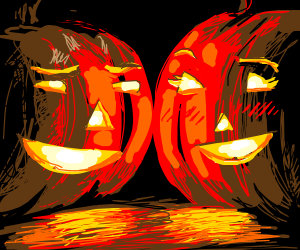 Jack-o-lanterns flirting with Jill-o-laterns