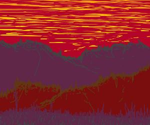 Gorgeous mountain sunset