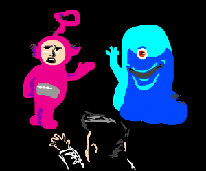 Man greets funny Teletubby and Alien
