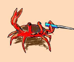 A Crab Brandishing Knife