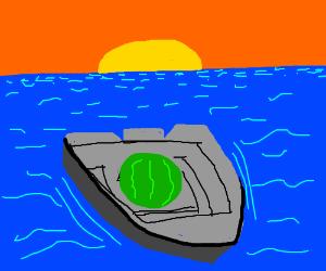 depressed watermelon man sails the ocean blue