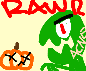 "A dinosaur with acne ""rawrs"" at a dead pumpkin"