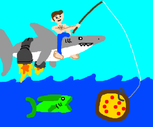 Man riding a rocket shark and fishing w/ pizza