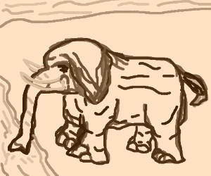 Elephant drinking from stream. (sho peashfur)