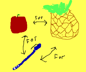 trading a aple a pineapple and a pen