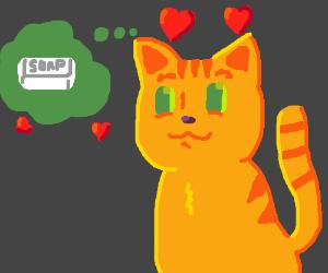 kitty LOVES SOAP nom nom nom! <3