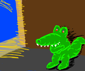Angry gator in an alley (geddit?)