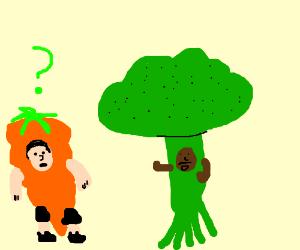 Vegetarian man in green will murder the Carrot