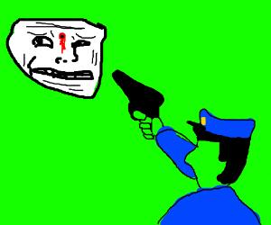 Drawception cop shoots trolls