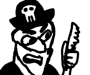 An angry pirate(?) with a knife