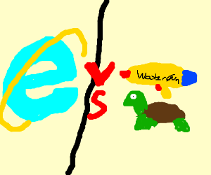 Internet explorer vs Turtle with Water-gun