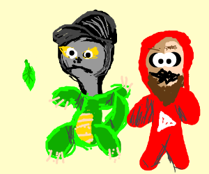 No Chin in dino suit and Keem in youtube suit