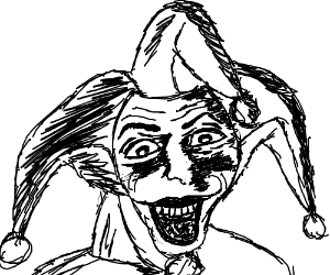 Scary monochrome jester leering from the panel