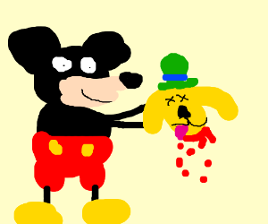 Mickey Mouse holding Goofy's disembodied head