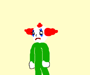 Sad clown wearing green
