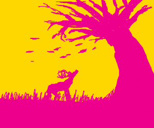 Silhouette of a deer and a tree