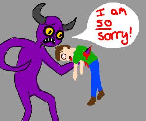 Purple monster accidentally killed something