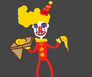 Clown about to eat