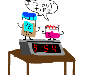 9:54 is officially peanut butter jelly time