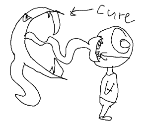 A cute ghost licks the back of a guy's head.