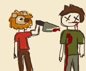 Human with lion cub head killing a man
