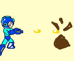 Mega Man shoots at a large brown-ish stone.