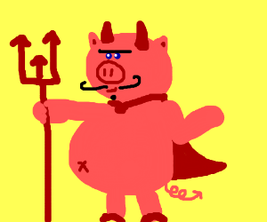 A pig turning into the devil