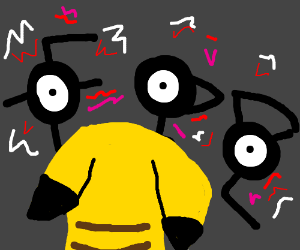 Pikachu gets surrounded by only Unowns...