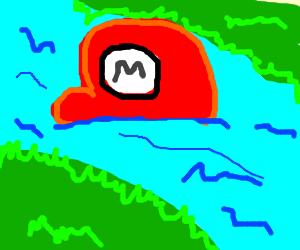 Mario's Hat Floats upstream