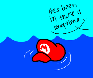 marios hat is in the water and he is prob dead